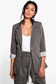 boohoo Harriet Turn Up Cuff Tailored Woven Blazer | #Chic Only #Glamour Always