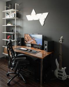 Here's my WFH setup: battlestations Office Setup, Desk Setup, Room Setup, Desk Inspo, Workspace Inspiration, Build A Pc, Game Room Design, Computer Setup, Corner Desk