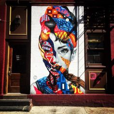 """16 Incredible Celebrity Murals Spotted Around NYC #refinery29  http://www.refinery29.com/celebrity-murals-nyc#slide-2  Who: Audrey HepburnWhere: Little Italy; outside Caffé Roma, 385 Broome Street (between Mott and Mulberry streets).Art By: Tristan Eaton for the L.I.S.A. Project""""Little Italy is a classic, historic place, and Audrey Hepburn encapsulates classic beauty,"""" artist Tristan Eaton said after he painted this 12-by-7-foot mural of the star. The work was revealed as part of the Little…"""