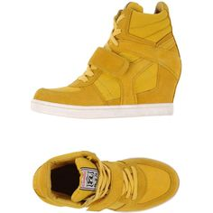 Ash Sneakers ($155) ❤ liked on Polyvore featuring shoes, sneakers, yellow, animal trainer, leather shoes, yellow sneakers, leather sneakers and round toe sneakers