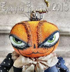 """""""Little Baby Sprout"""" by Joyce Stahl of Enchanted Productions. All Rights Reserved by the artist. Halloween Rules, Halloween Doll, Holidays Halloween, Halloween Crafts, Primitive Autumn, Vintage Halloween Cards, Halloween Door Decorations, Pumpkin Head, Halloween Pictures"""