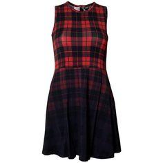 Tartan Skater Dress [B] ❤ liked on Polyvore featuring dresses, tartan dress, digital print dress, fitted plaid dress, jersey knit dresses and button jerseys