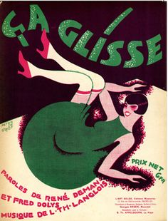 "Illustrated Sheet Music by Peter De Greef, 1927, ""Ça glisse""."