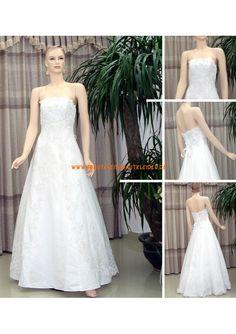 Trägerlos A-linie Bodenlang Elegantes Brautkleid 2013 aus Satin mit Spitze