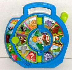 Features 16 Animal Sounds - One Page Of Farm Animals And Another Of Exotic Wild Animals, Quiz Mode And Plays 2 Songs. Learning Toys For Toddlers, Toddler Learning, Toddler Toys, Amazing Toys, See And Say, Vintage Fisher Price, New Toys, Little People, Cool Toys