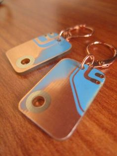 Turn old electronic parts into geek chic key chains.