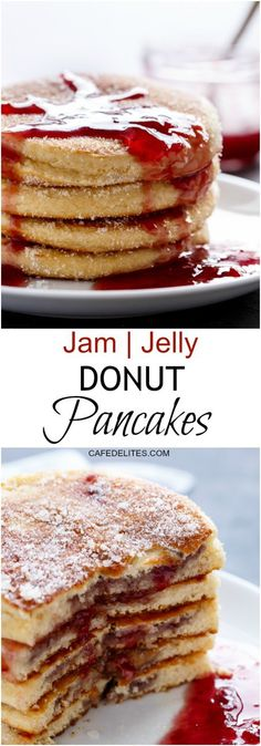 JAM (JELLY) DONUT PANCAKES!!! Yes Please!!!! Delicious Fluffy donuts ...
