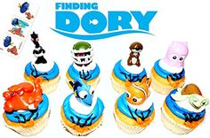Finding Dory Disney Movie Deluxe Cupcake Topper Figure Set of 8 with 6 Temporary Tattoos *** Want to know more, click on the image.