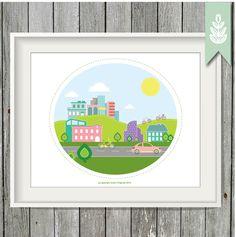 Printable City Art - 8x10 Art Print - INSTANT DOWNLOAD - Happy City Print by greenoriginals on Etsy