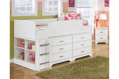 White Lulu Twin Loft Bed with 6 Drawer Storage View 1