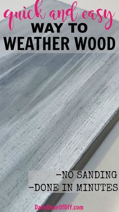 Quick and Easy way to weather and distress new wood DIY. No sanding required and it takes just minutes from start to dry. Ditch the stain and try this instead. paintings on wood How To Distress New Wood in Minutes - Daily Dose of DIY Easy Woodworking Projects, Popular Woodworking, Woodworking Furniture, Fine Woodworking, Furniture Plans, Woodworking Classes, Diy Furniture, Furniture Projects, Woodworking Equipment