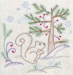 Image by EMBROIDERY LIBRARY INC - Vintage Winter Woodland Squirrel