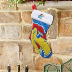 Kansas Jayhawks Stocking! Check out all of the Jayhawk Holiday decor here: http://pin.fanatics.com/COLLEGE_Kansas_Jayhawks_Accessories_Holiday_Items/source/pin-kansas-holiday-decor-sclmp