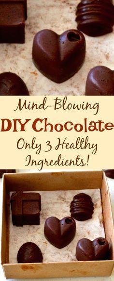 Mind-Blowing 3 Ingredient DIY Chocolate #3ingredient #easyrecipes #healthyrecipes #DIY #chocolate
