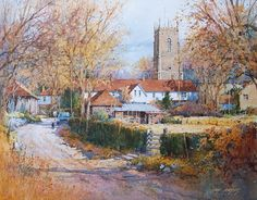 ian ramsay watercolors | image watercolor village approach 8 x 11 image watercolor sold
