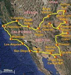Itinerario consigliato sud ovest Stati Uniti