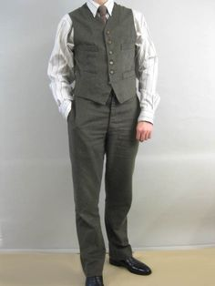 Fishtail Back Trousers in Moss Green Moleskin with matching waistcoat at Darcy Clothing