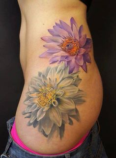 Lotus Flower tattoo - coloring so that it is broken up