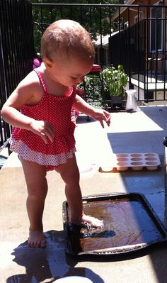"Toddler water play - cookie sheet ""puddle"""
