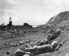 Assault on the beach in Iwo Jima