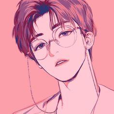 boy glasses pink digital art graphic design aesthetic drawing photoshop modern anime style asian japanese chinese ethereal g e o r g i a n a : a r t Manga Anime, Fanarts Anime, Manga Art, Anime Art, Digital Art Anime, Korean Anime, Korean Art, Handsome Anime Guys, Cute Anime Guys