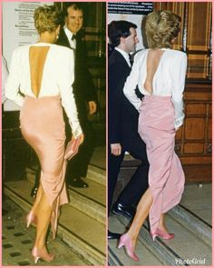 Diana, Princess of Wales wearing same dress but her hair is much shorter on the left. Princess Diana Dresses, Princess Diana Fashion, Princess Diana Family, Princes Diana, My Princess, William Kate Wedding, Diana Williams, Royal Tiaras, Lady Diana Spencer