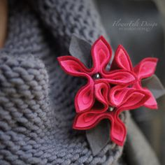 felt brooch tangerine brooch red flowers flower by MargoHupert