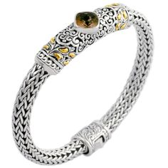 Smokey Quartz Woven Sterling Silver Bracelet with 18K Gold Accents | Cirque Jewels
