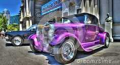 Custom painted purple Vintage Ford on display at the 2017 Victorian Hot Rods and Cool Rides a car show held in Melbourne, Australia
