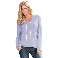 Yoyorule Women Long Sleeve Hooded Loose Blouse Tops T Shirt *** Read more  at the image link.