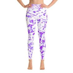 e07171ba3c Purple Color Spatter Yoga Leggings. Awesome yoga and gym gear, hand  stitched in the