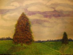 Original Water Color Two Trees by HeritageWatercolors on Etsy, $26.00