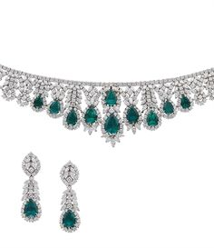 A SUPERB EMERALD AND DIAMOND NECKLACE AND EAR PENDANTS, BY HOUSE OF TAYLOR JEWELRY, THE ELIZABETH COLLECTION  The front of the necklace set with ten pear-shaped emeralds to the series of graduated diamond floral motifs suspended from a line of brilliant-cut diamonds, ear pendants en suite, necklace 33.0 cm long, ear pendants 5.6 cm long