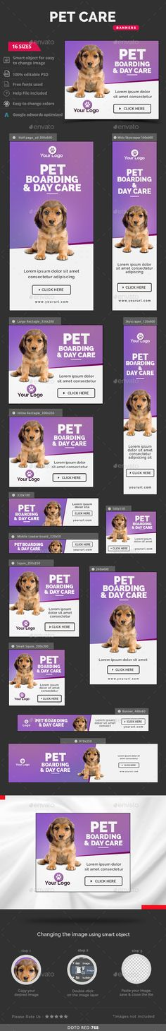 Buy Pet Care Banners by Hyov on GraphicRiver. Promote your Products and services with this great looking Banner Set. 16 awesome quality banner template PSD files r. Pet Quotes Cat, Pet Memes, Photoshop, Display Ads, Online Pet Supplies, Shops, Banner Template, Shopping Websites, Ad Design