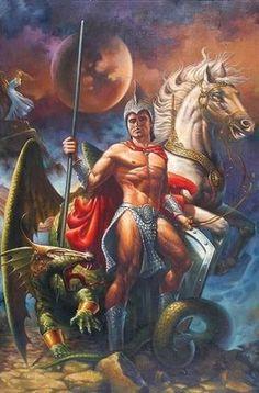 ♫ Eu tenho sete espadas para me defender/ Eu tenho Ogum em minha companhia / Ogum é meu pai, Ogum é meu guia Ogum é pai / Fica com Deus e a virgem Maria.♫