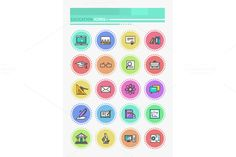 Set of Thin Lines Icons Education by robuart on Creative Market