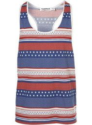 Topman Red Stars And Stripes Vest