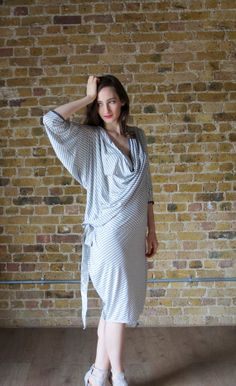 Oversized T-shirt Dress, Long Draped Dress in Stretch Jersey, Maternity Dress, Medium