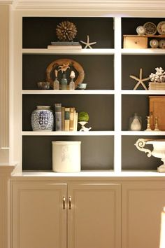 built-ins w/ contrast {SW Urbane Bronze} - I love decorating with shells