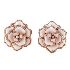 Rose Gold Flower Earrings | From a unique collection of vintage clip-on earrings at http://www.1stdibs.com/jewelry/earrings/clip-on-earrings/ #GoldJewelryearringsdiamonds #GoldJewelryearringsbeautiful