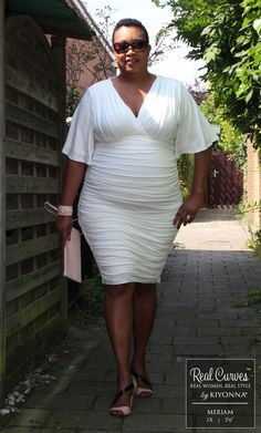 """Real Curve Cutie and boutique owner Meriam (5'6"""" and a size 1x) grabs our plus size Rumor Ruched Dress from her Lady PLUS Fashion stock and struts her stuff!  Explore our entire made in the USA collection online at www.kiyonna.com.  #KiyonnaPlusYou"""