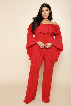 Off Shoulder Ruffle Trim Plus Size Jumpsuit