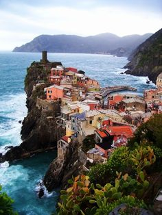 Edge of the Sea, Vernazza, Italy. This is one of the towns that make up the 5 towns of the Cinque Terre region. Italy Vacation, Italy Travel, Vacation Spots, Travel List, Places Around The World, Travel Around The World, Around The Worlds, Places To Travel, Places To See