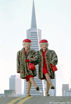 Met local celebrities, twins Marian and Vivian Brown, (born in 1927), in 1996, San Francisco.
