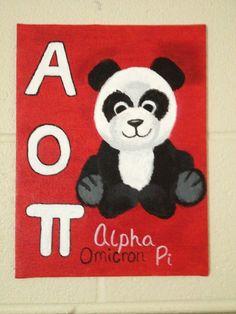 AOPi, Alpha Omicron Pi, painting, panda #AOII #alphaomicronpi