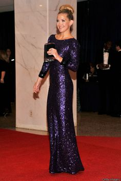 Kate Hudson ~ Shimmering Purple Sequin High Neck Long Sleeved Gown by Jenny Packham