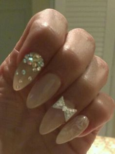 Almond nails  nude with rhinestones