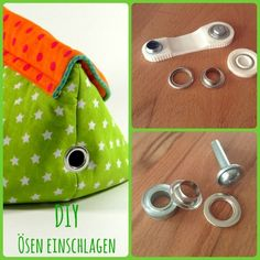 Anleitung zum Thema Ösen A few months ago I had no idea what eyelets could be used for when sewing, where to buy eyelets, how to use eyelets and what eyelets are there. Sewing Tools, Sewing Hacks, Sewing Tutorials, Sewing Projects, Sewing Bras, Sewing Clothes, Purse Tutorial, Purse Organization, Zipper Bags