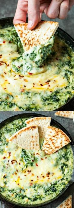 Serve this Cheesy Baked Shrimp and Spinach Dip at your next party and it's sure to be the first dish devoured! My friends and family BEG for this easy cheesy appetizer! appetizers shrimp Cheesy Baked Shrimp and Spinach Dip - Peas And Crayons Hot Spinach Dip, Spinach And Cheese, Creamed Spinach, Seafood Recipes, Cooking Recipes, Healthy Recipes, Seafood Dip, Shrimp And Spinach Recipes, Dip Recipes