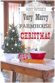 farmhouse Christmas at Auntie Ruthie's Sugar Pie Farmhouse. I love the idea of putting a small tree inside of an enamel wash basin/bowl. Merry Little Christmas, Cozy Christmas, Primitive Christmas, Country Christmas, Vintage Christmas, Christmas Holidays, Christmas Decorations, Xmas, Beautiful Christmas